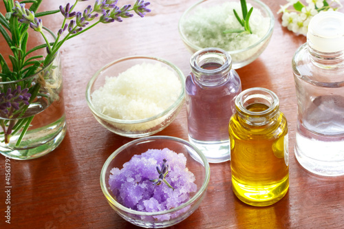 Fotografie, Obraz  Bath salt with aromatherapy oil