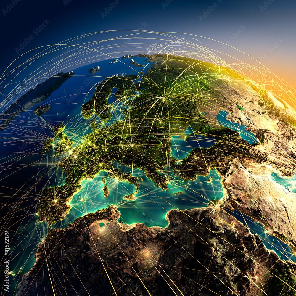 Fototapety, obrazy: Główne trasy lotnicze w Europie