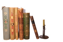 Stack Antique Books And Candle...