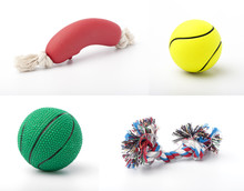 Set Of Images With Pet Toys On...