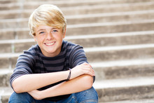 Cute Teen Boy Closeup Portrait