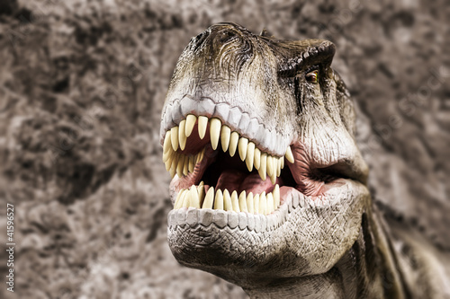 Naklejka premium Tyrannosaurus przedstawiający jego zębate usta