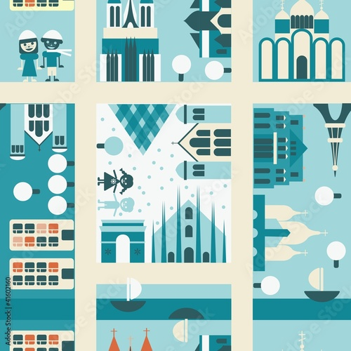 Wall Murals On the street winter street seamless backgrounds