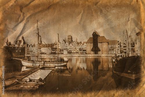 obraz PCV Marina w stylu retro. Gdańsk, Polska.