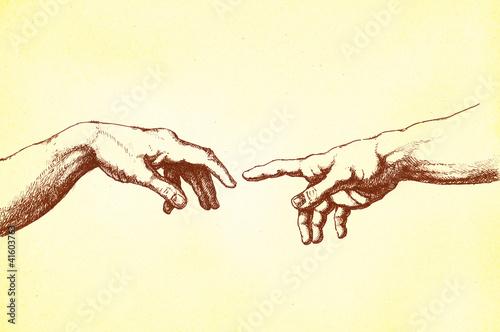Photo  Michelangelo Erschaffung Adams' Hände