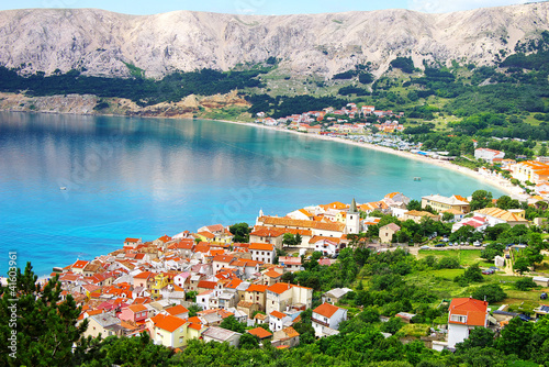 Obraz na plátně Picturesque nature sea landscape with Baska, Krk island.