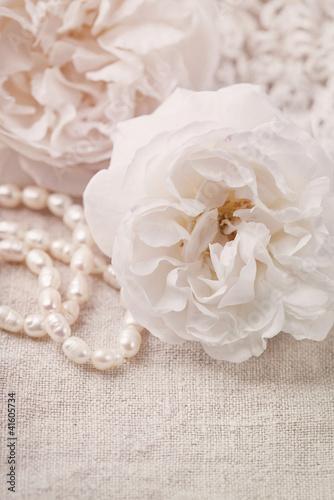 Foto-Tapete - White roses (von Elena Schweitzer)