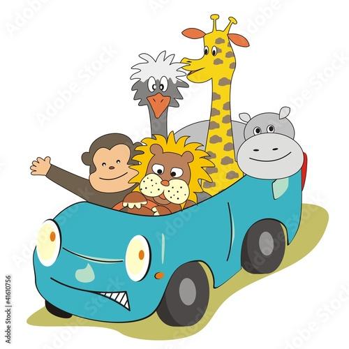 Poster de jardin Zoo animals in the car