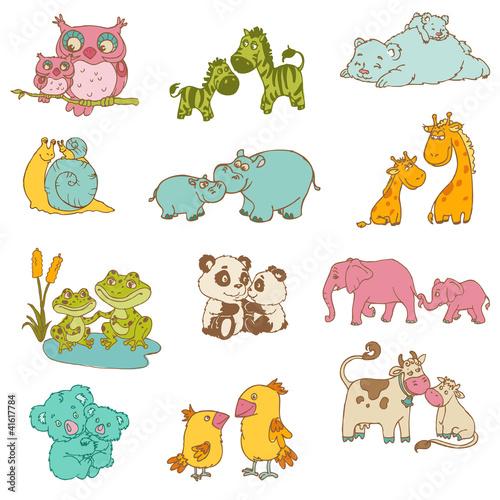 baby-i-mommy-animals-recznie-rysowane-w-wektorze
