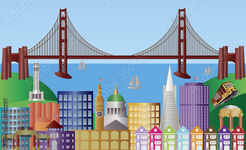 Foto op Canvas Doodle San Francisco City Skyline Panorama Illustration