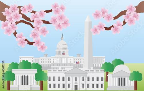 Fototapeta Washington DC Landmarks with Cherry Blossom obraz