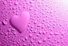 Water Drops And Heart Shape On Lilac Background