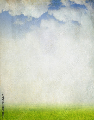 Pinturas sobre lienzo  Field and sky, vintage background
