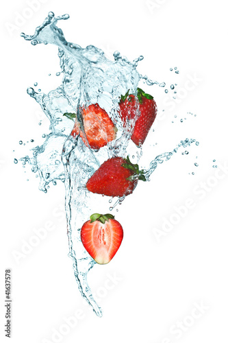 Photo Stands Splashing water Strawberry