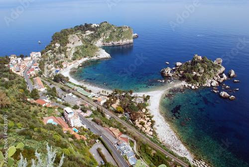 Foto-Schiebegardine Komplettsystem - Sizilien - Taormina - Isola Bella und Mazzaro Beach