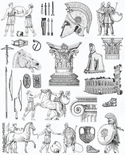 Photo  Old greek set illustration