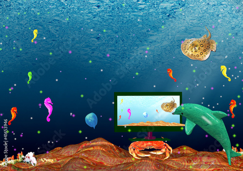 Recess Fitting Submarine Landscape: sea inhabitants watch monitor