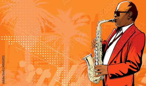 In de dag Muziekband saxophone player in a street