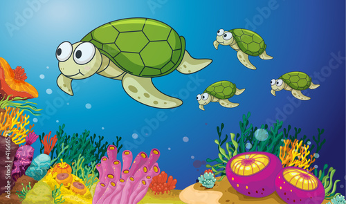 Aluminium Prints Submarine turtles