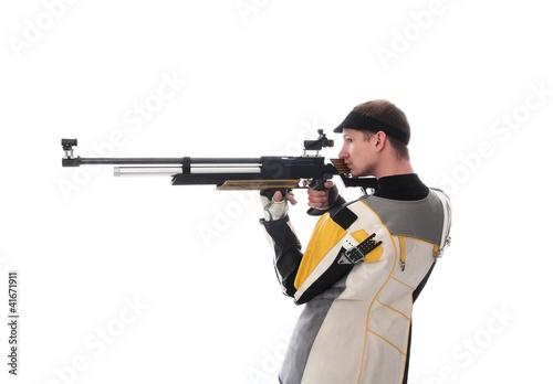 Foto-Stoff bedruckt - Schütze mit Luftewehr in Seitenansicht (von RioPatuca Images)