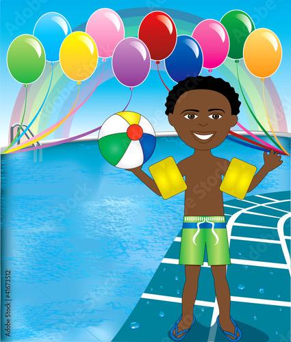 In de dag Regenboog Pool Ball Boy