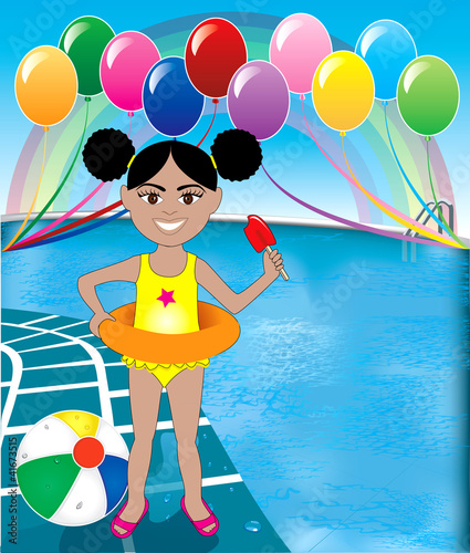 Photo Stands Rainbow Pool Popsicle Girl