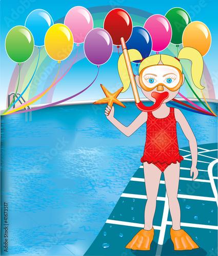 In de dag Regenboog Pool Snorkel Girl