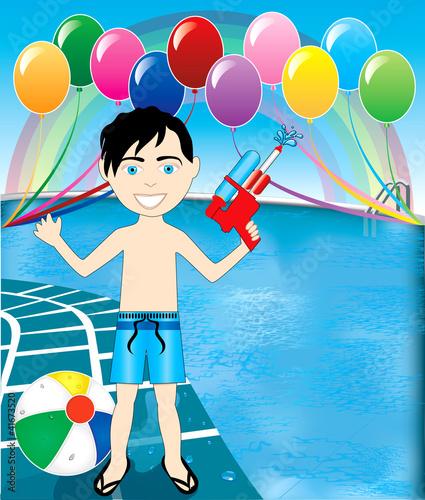 In de dag Regenboog Pool Watergun Boy