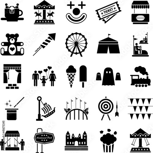 Fototapeta Amusement Park icons