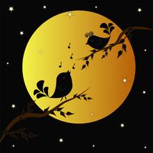 Singing Birdies On Branches Un...