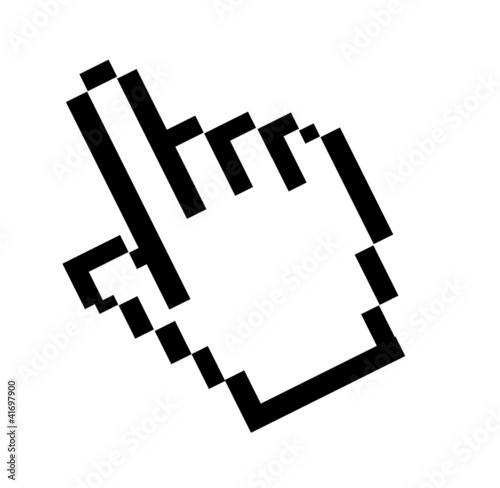 Foto op Aluminium Pixel Computer mouse pointer hand over white background. Illustration