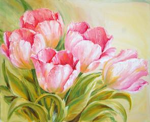 Panel Szklany Tulipany Oil Painting tulips