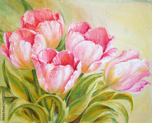 Obraz w ramie Oil Painting tulips