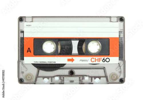 Billede på lærred cassette tape isolated on white with clipping path