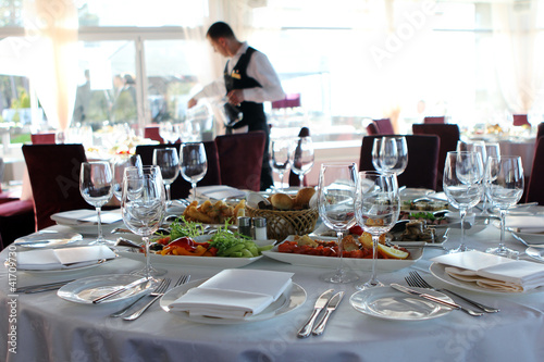 Fotobehang Restaurant Banquet table in restaurant