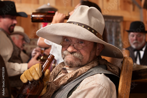 Fotografie, Obraz  Drunken Old Cowboy