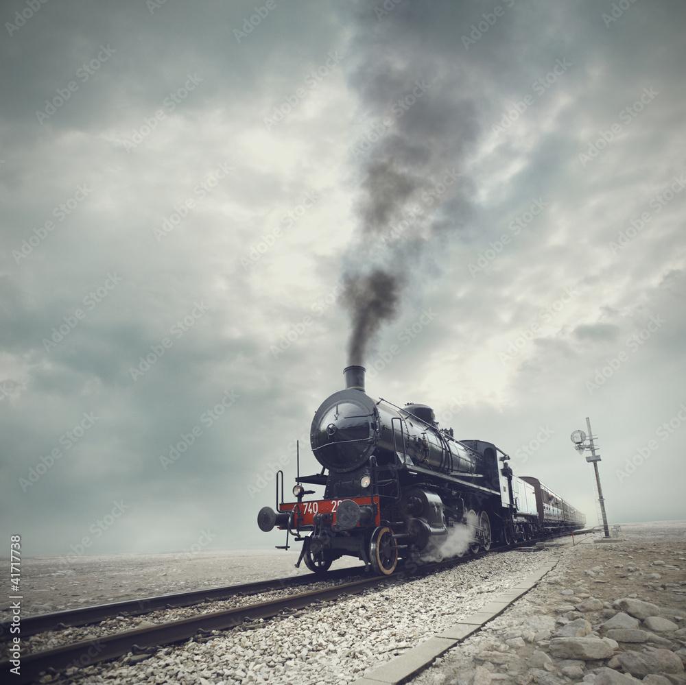 Fototapeta black train - obraz na płótnie
