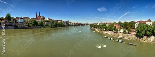 Dekoracja na wymiar panoramiczny-strzal-rhine-skrzyzowanie-basel-szwajcaria