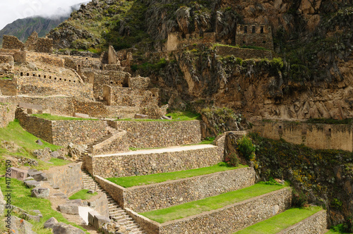 Fotografie, Obraz  Peru, Sacred Valley, Ollantaytambo Inca fortress