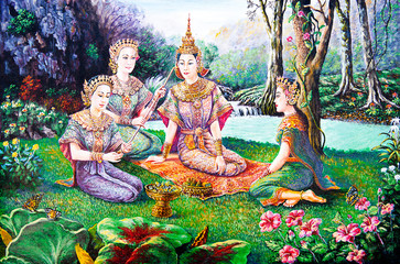 Panel Szklany Orientalny Thai life in the garden of oil painting