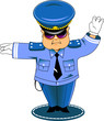 traffic cop in blue
