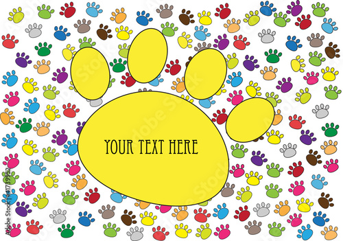 Fotomural  colorful vector background with cat paw prints