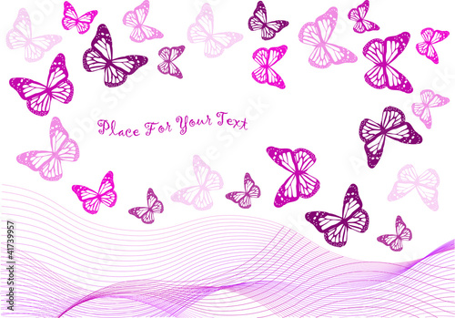 Fotografía  vector backdrop design with butterflies and waves