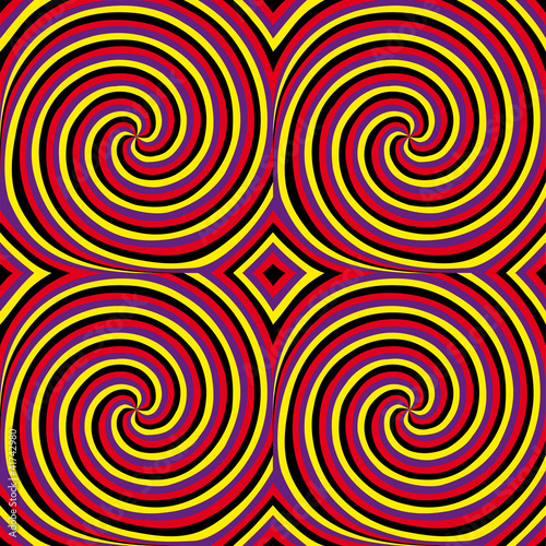Poster Psychedelique Movement (motion illusion). Seamless pattern.