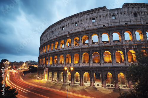Coliseum at night. Rome - Italy Poster