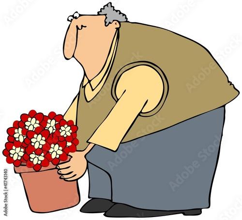 Fotografie, Obraz  Man Picking Up A Potted Plant