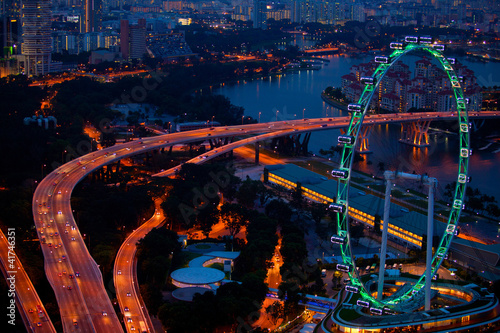 Photo  Aerial view on Singapore Flyer from Marina Bay at night
