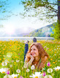Leinwandbild Motiv träumendes Mädchen in Blumenwiese / dandelion-6
