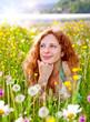 Leinwandbild Motiv hüpsches Mädchen in Pusteblumenwiese / dandelion-1