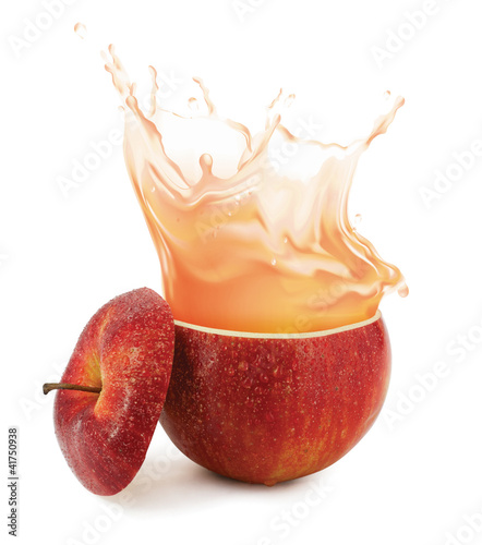 Spoed Foto op Canvas Opspattend water Apple juice splashing isolated on white